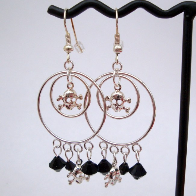 PE021 Silver double hoop pirate earrrings