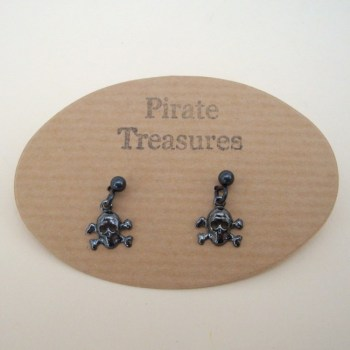 PE012 Black skull & crossbones earrings