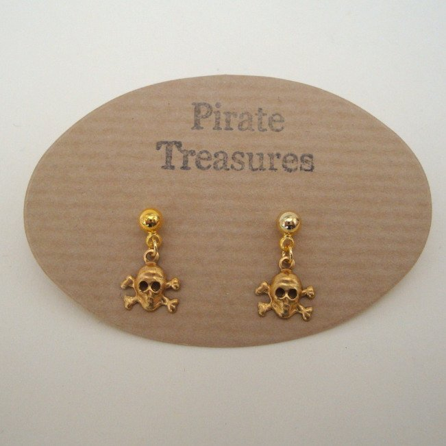 PE010 Gold pirate skull & crossbones earrings