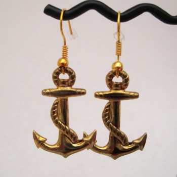 Gold plated large anchor earrings PE006
