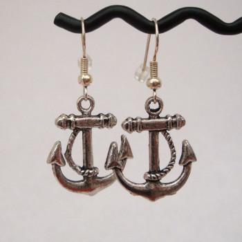 Silver anchor nautical pirate earrings PE005