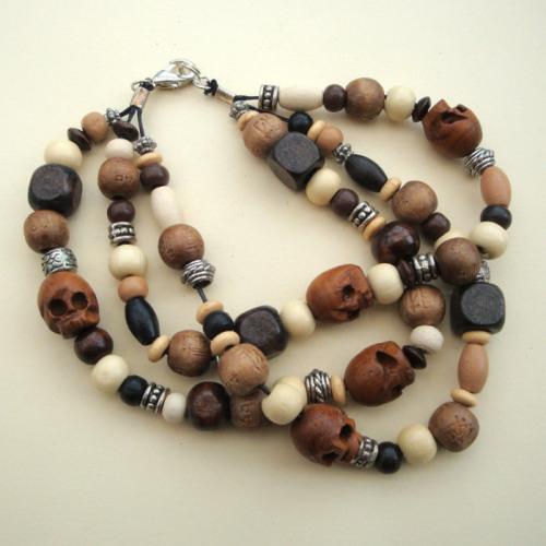 MB002 Wooden beads & skulls bracelet
