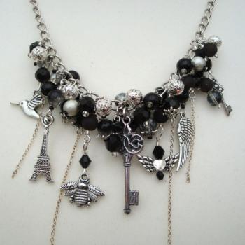Black & Silver statement charm necklace JN002
