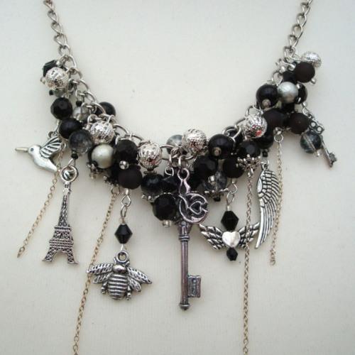 JN002 Black & Silver statement charm necklace