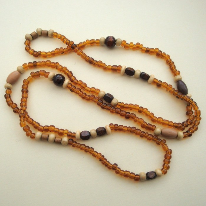 Men's long necklace with brown beads MN017