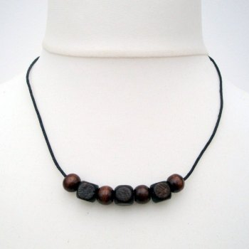 Brown wooden beads necklace men's or unisex MN016