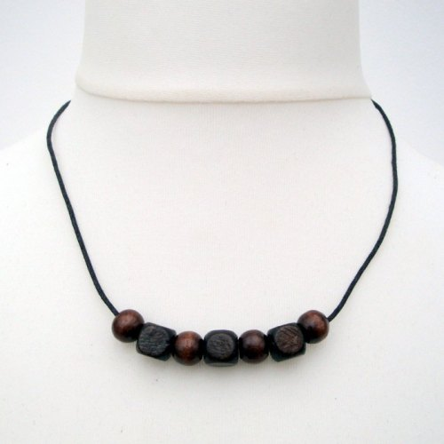 Brown Wooden Beads Necklace Mens Or Unisex Mn016