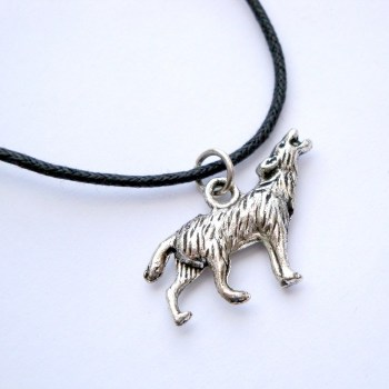 Wolf charm necklace on black cord MN002
