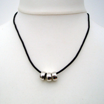 Three silver rings on brown cord men's necklace MN001