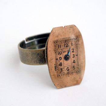 SR010 Steampunk vintage watch face ring