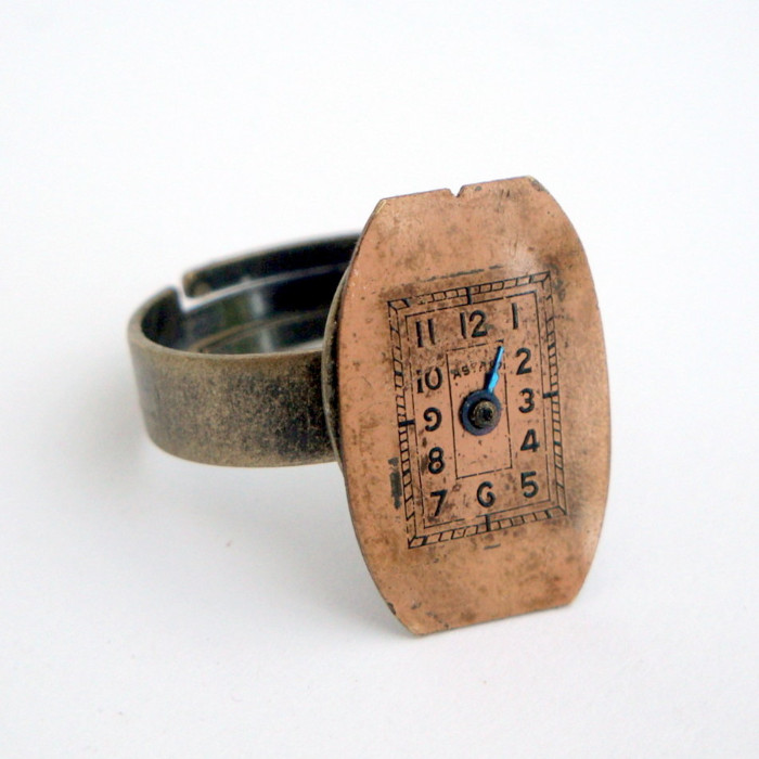 SR010 Steampunk vintage watch face ring