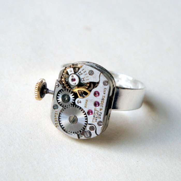 Steampunk ring with vintage Tissot watch movement SR048