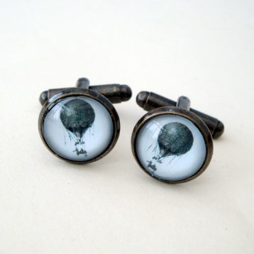Steampunk hot air balloon cufflinks SC044