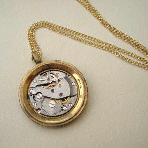 Steampunk necklace with torch soldered watch movement on chain SN114