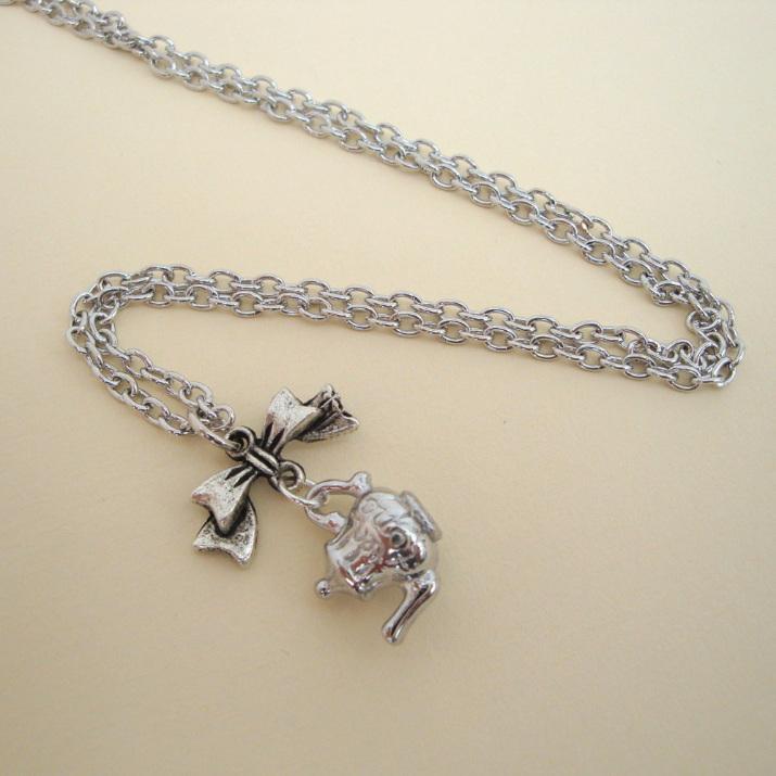 Silver teapot charm necklace vintage kitsch style VN111