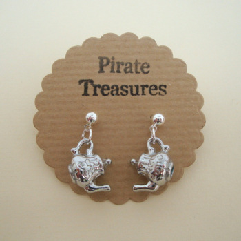 Silver teapot charm earrings vintage kitsch style VE051