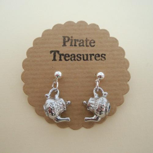 Silver teapot charm earrings vintage kitsch style VE051