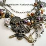 pn135 bronze layered pirate charm necklace 1