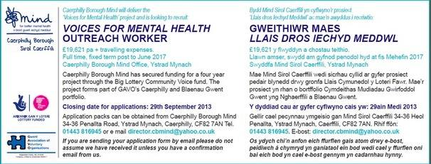 voices for mental health job advert for website