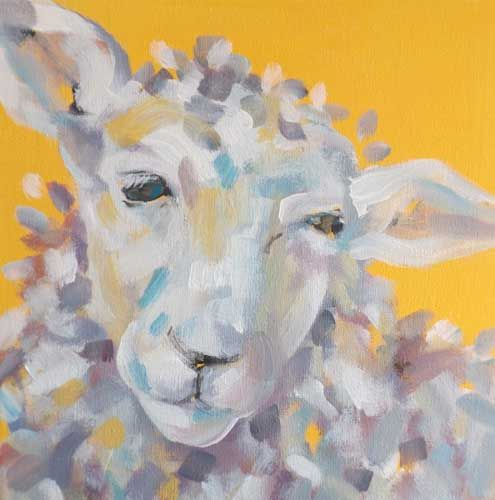 Painting of Yellow Sheep