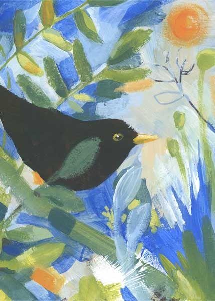 Garden Blackbird painting