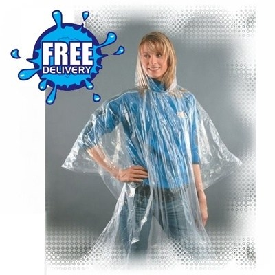 Plain Single Use Emergency Ponchos (Disposable) Adult/Child