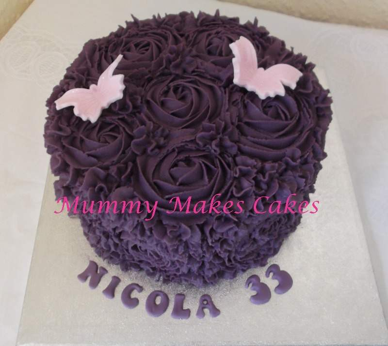 Purple Buttercream Swirl Rose Cake