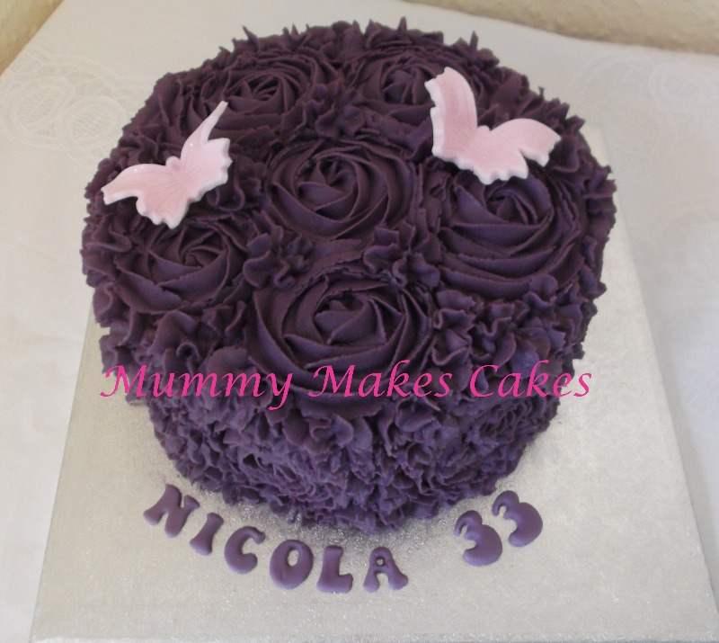Purple Buttercream Swirl Rose Cake