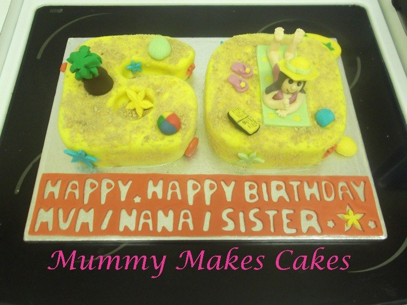 Beach themed number 60 cake