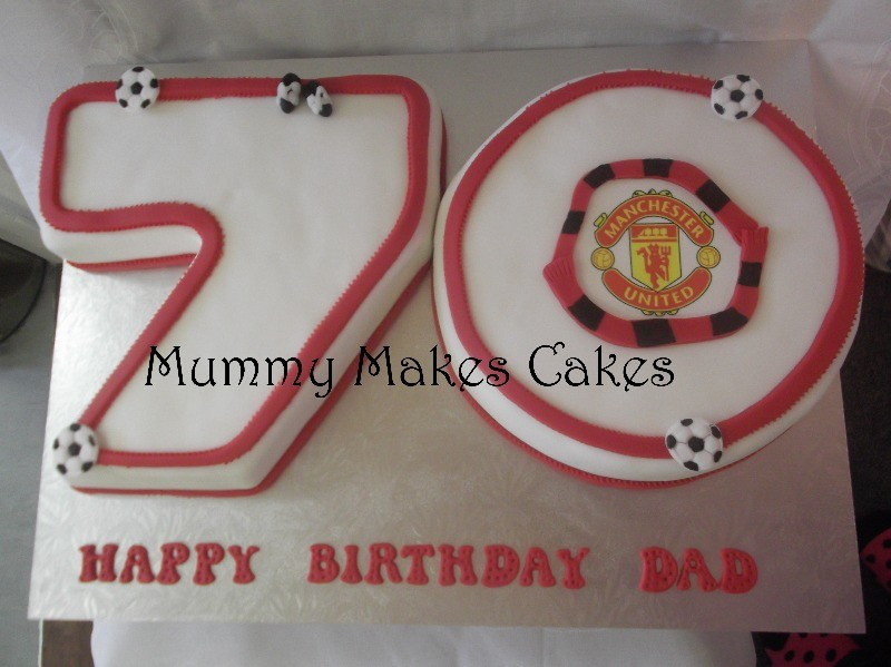number shaped 70 Man Utd