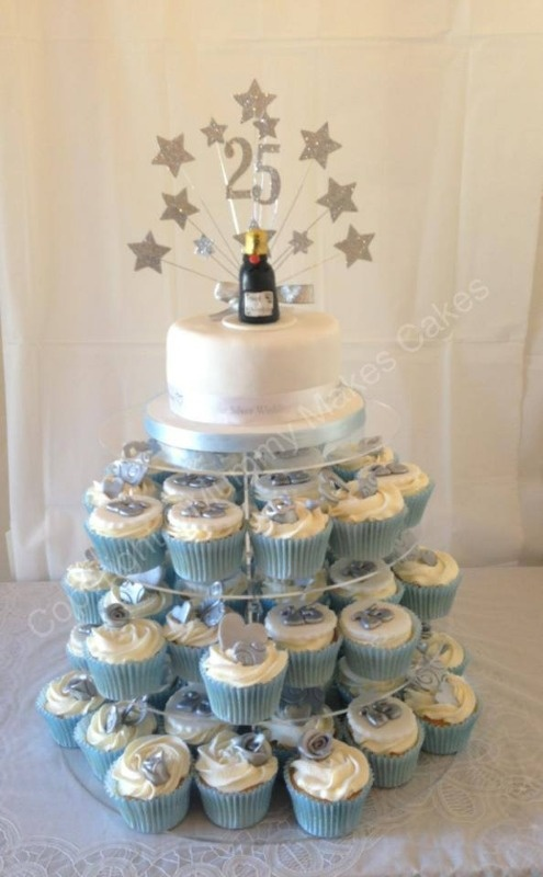 silver 25th anniversary cupcake and cake tower