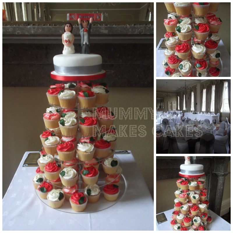 Wedding Red & White Cupcake Tower