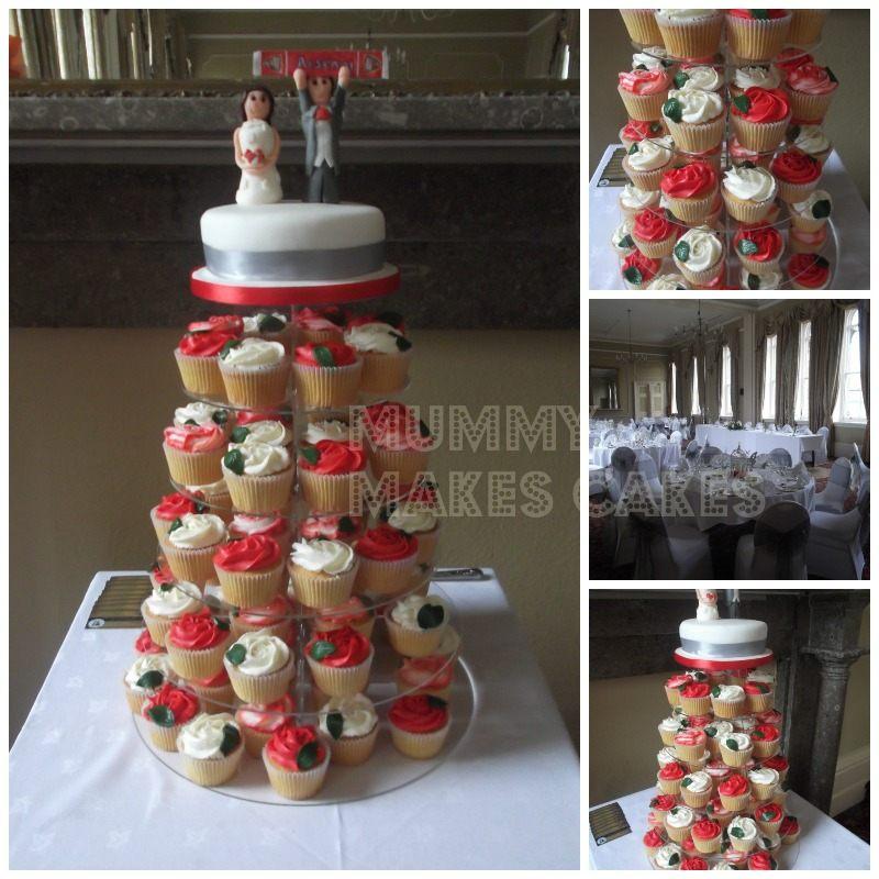 Wedding Red & White Cupcake Tower