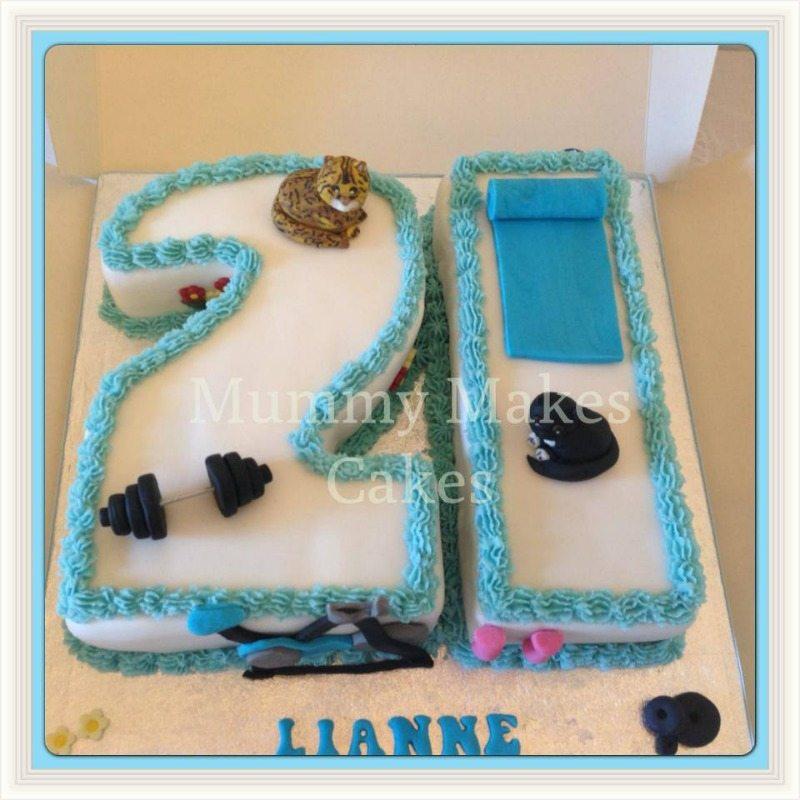 gym cat themed 21 shaped cake