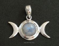 Triple Moon Goddess Pendant, Sterling Silver Rainbow Moonstone Crystal