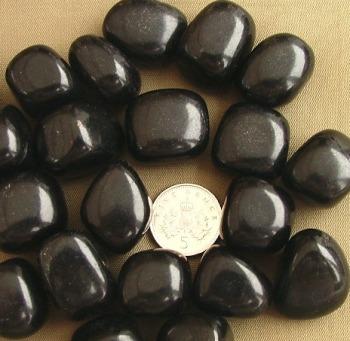 Jet large Crystal Tumblestones