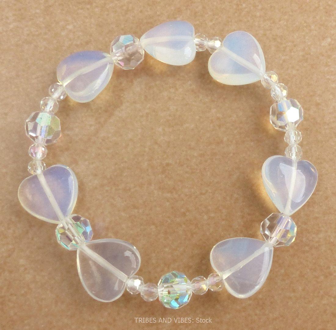 Opalite Hearts & Beads Bracelet (stock)