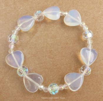 Opalite Hearts & Beads Bracelet