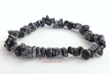 Snowflake Obsidian Bracelet Crystal Chips