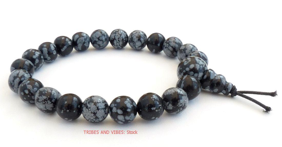 Snowflake Obsidian Power Beads Bracelet (stock)
