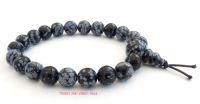Obsidian (Snowflake) Bracelet Crystal Power Beads Mala