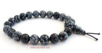 Snowflake Obsidian Crystal Power Beads Bracelet / wrist mala