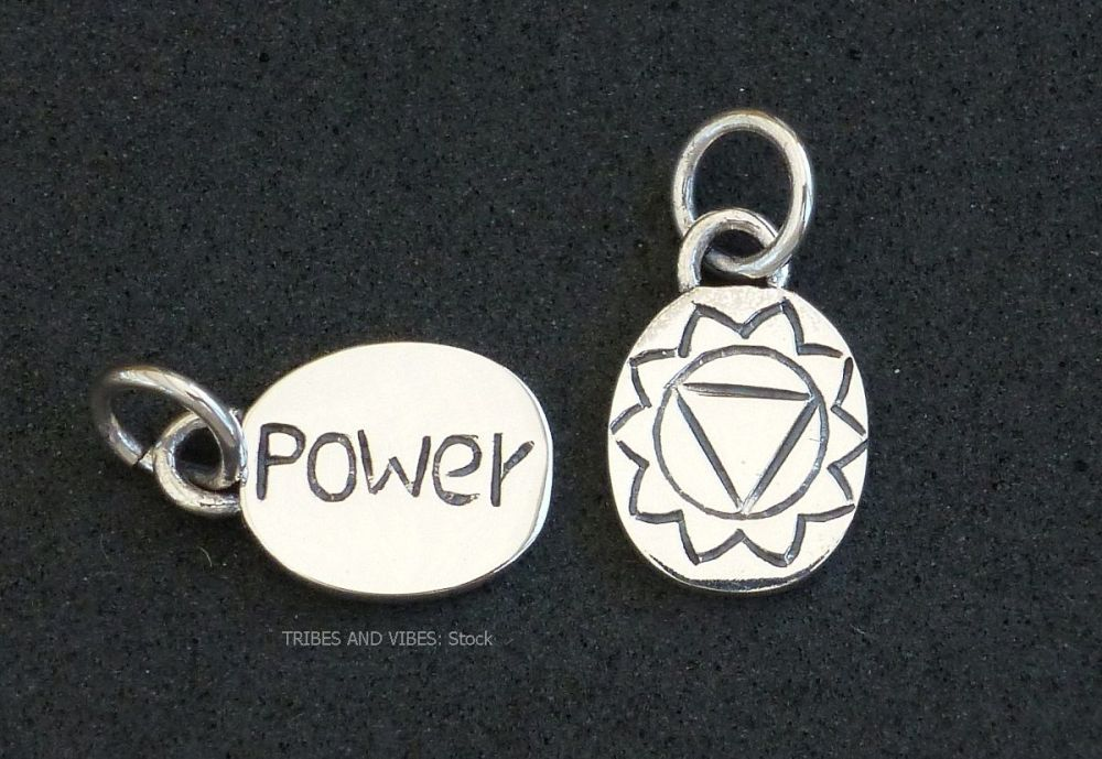 Power Chakra Charm (stock) - showing both sides of 2 Charms.