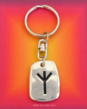 ALGIZ Rune Keyring (Key Chain) for Protection & Defence