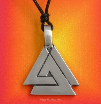 Valknut Pewter Pendant Necklace