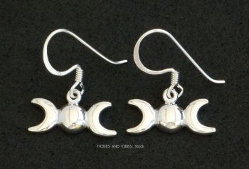 Triple Moon Goddess Earrings Sterling Silver