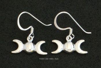 Triple Moon Goddess Earrings Sterling Silver