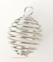 <!--0001-->Spiral Cage Pendant for Crystals (Silver Plated)