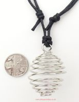 <!--0002-->Spiral Cage Pendant (Silver Plated) & adjustable cotton Necklace
