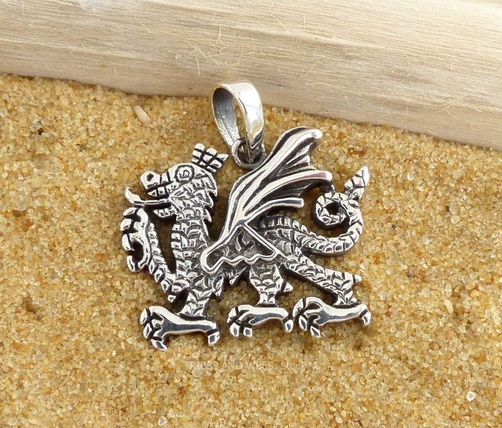 Welsh Dragon Pendant, Sterling Silver (stock)